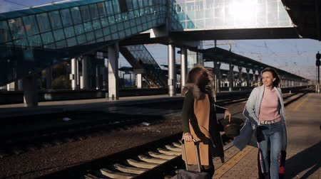 rukojeť : Woman with suitcases waiting for the arrival of the train on the platform of the railway station, in the last light of the sun Dostupné videozáznamy
