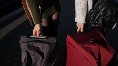 atender : Two women rolled on the platform of the railway station suitcases on wheels, large LAN. Stock Footage