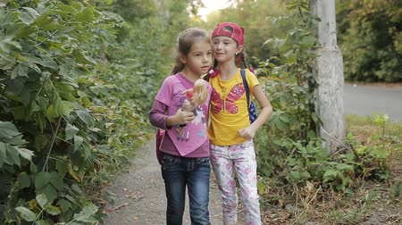 go to school : Two little girls girlfriend go home on the side of the road and talk