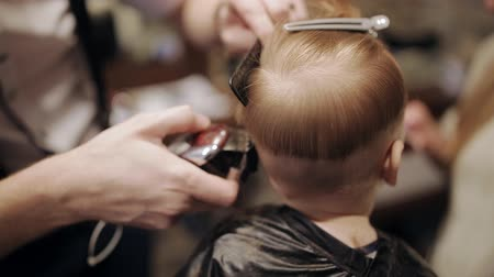 grzebień : A small child is being prepared for a haircut in a hairdresser