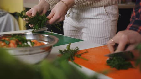 dietético : Two young woman preparing meal at the kitchen table. Good job for human health. Proper nutrition and wellness. Prepare and chop lush greenery for vegan. Eating at home. Stock Footage