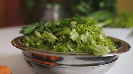 хлорофилл : Closeup of a bowl with vegetable salad on the table in the kitchen.
