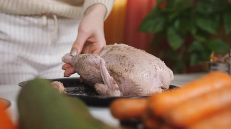 borrifar : Female hands sprinkle spices on chicken. Close up Stock Footage