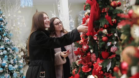 мишура : Two women in the Mall considering new year decorations hung on artificial trees standing in the sales area.