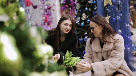 amostra : Two women choose the scenery for the Christmas store Christmas decorations. Two women choose Christmas decorations in the supermarket. Stock Footage
