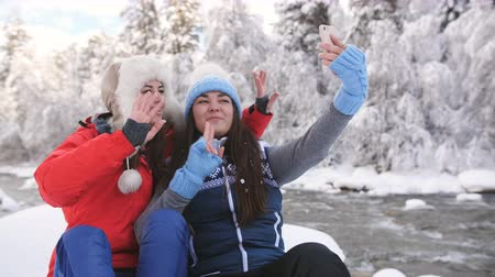 lesbian couple : Two girls girlfriends in the winter near the mountain river sitting on a rock and talk using video call with friends on the smartphone.
