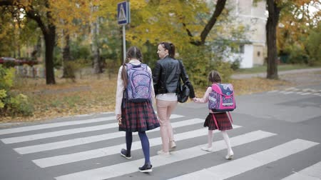 教育 : Mother with her daughters in the fall go home after school and cross the road at a crosswalk.