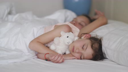 plüss : A little girl with a plush little sheep is sleeping with her older sister in bed.