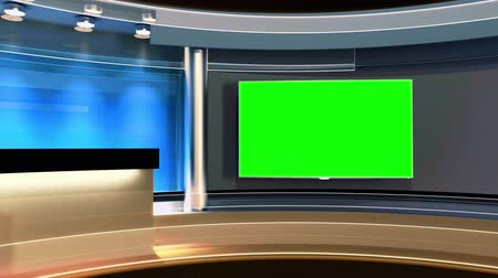 tv screen : Tv Studio. News studio.Loop. The perfect backdrop for any green screen or chroma key video or photo production. 3d render. 3d visualisation