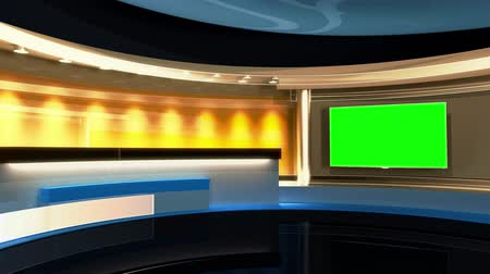 зеленый фон : Tv Studio. News studio.Loop. The perfect backdrop for any green screen or chroma key video or photo production. 3d render. 3d visualisation
