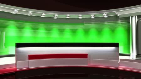 estúdio : Tv Studio. News studio.Loop. The perfect backdrop for any green screen or chroma key video or photo production. 3d render. 3d visualisation