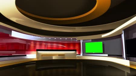 souprava : News Studio. Tv studio set. The perfect backdrop for any green screen or chroma key video production. Loop. 3D. 3D rendering. After loop video have mate video for screen.