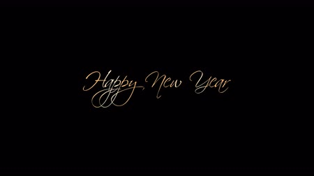 calligraphic : Happy New Year Greeting Beautiful Text Animation With Alpha Channel