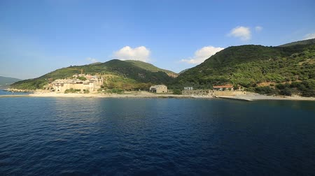 řek : View of the mountains from the ferry, the Mediterranean sea Greece Halkidiki holy mountain Athos Dostupné videozáznamy