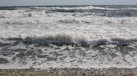 waves on the beach in greece. Mediterranean Sea Stock Footage
