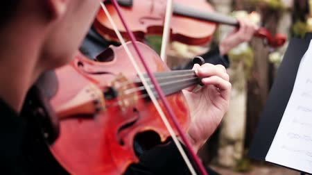 playing band : musical ensemble. musician playing the violin Stock Footage