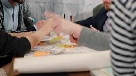 small businessman : Closeup hands of young architects Creative small business team meeting in startup office discussing new ideas Stock Footage