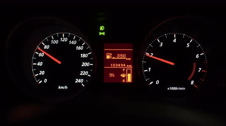 tachometer : Close-up view of dashboard in the car at night time, control panel.
