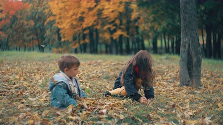 hiding : cute little brother and sister playing in the autumn park, girl throws on boy yellow fallen leaves 4k