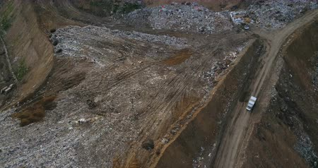 decomposition : Aerial view of the pile of trash and car rides near the dump. Flight over the urban refuse dirty waste.
