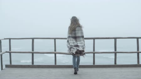 endure : Back view of young woman with plaid standing on the wooden pier and looking afar. Female spends time alone in foggy day.