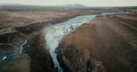 gullfoss : Aerial view of the scenic landscape in Iceland. Waterfall Gullfoss in the crevice, clear mountain river. Famous place. Stock Footage