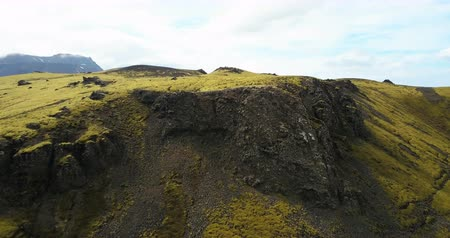hardened lava : Aerial view of the green lava field with bumps covered moss. Drone flying over the mountains and cliffs in Iceland.