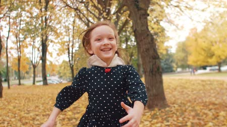 nogi : portrait cute little girl with curly hair, in dress with polka dots runing through the autumn alley in the park slow mo Wideo