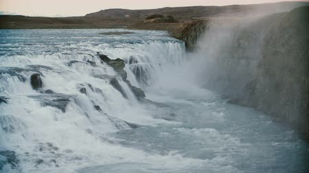 gullfoss : Beautiful landscape of the mountains and water. View of the amazing Gullfoss waterfall in Iceland.