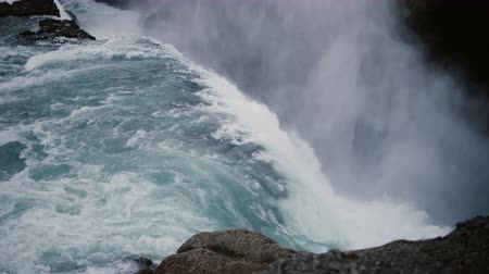 gullfoss : Time lapse of the beautiful Gullfoss waterfall in Iceland. Turbulent flow of water falls down from the cliff.