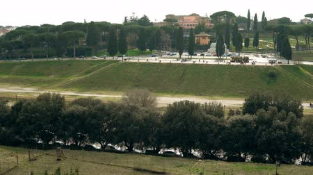palatine : Authenticity of Rome, Italy in ancient and modern buildings and monuments. Core of landscape is Circus Maximus. Stock Footage