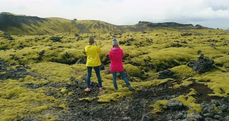 hardened lava : Aerial view of two woman standing on the lava field in Iceland and enjoying the landscape. Tourists after hiking. Stock Footage