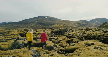desert life : Aerial view of two woman walking on the lava field in Iceland, exploring the territory. Tourists enjoying the landscape.