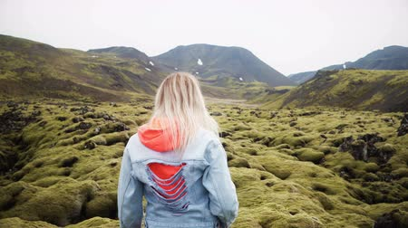 magma : Back view of two tourists woman hiking together in Iceland. Girls walking through the lava field covered moss.
