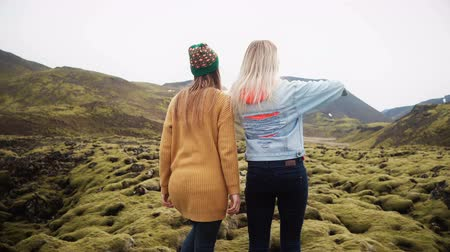 hardened lava : Two tourists woman walking through the lava field in Iceland covered moss. Girls raises hands, feels happy and freedom. Stock Footage