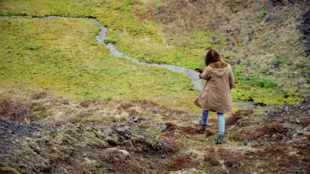 endure : Back view of young traveling woman walks in mountain valley near river alone. Female exploring new place and thinking. Stock Footage