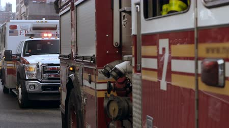 firemen : Close-up view of the fire vehicle and police standing on the road. Emergency service with siren light flashing. Stock Footage