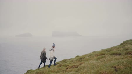endure : Two young woman hiking in the mountains. Traveling female exploring the Iceland, walking on the shore of the sea.