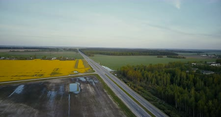 canola : Highway road in valley with forest canola field. Aerial drone 4K shot traffic cars and trucks. Agricultural industry.