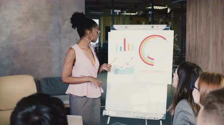 flip chart : African American female employee gives a report. Modern mixed ethnicity business people working in loft office. 4K.