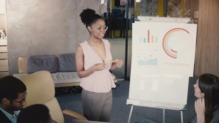 flip chart : African American female worker gives a report. Multi ethnic business people working in trendy loft office, high angle 4K Stock Footage