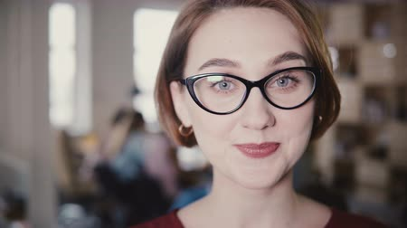 attorney : Close-up of cheerful Caucasian business woman smiling at camera, raising eyebrows. Happy female office manager posing 4K Stock Footage