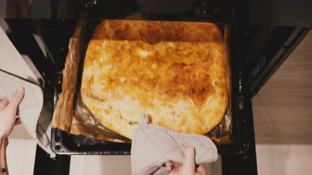 suporte : Top view female hands open kitchen oven with pot holders, take out a baking pan with beautiful pie on it and close it.