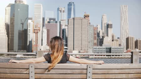 wanderlust : Back view of happy girl with long hair enjoying beautiful Manhattan skyline view in New York sitting with arms on bench. Stock Footage