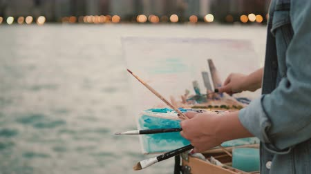 ミシガン州 : Close-up view of young woman holding the brushes and drawing the picture on shore of Michigan lake, Chicago, America 動画素材