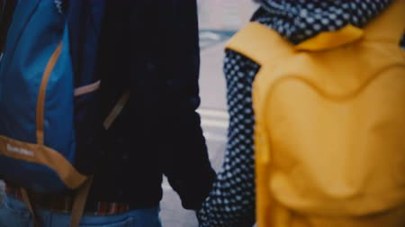 Back view happy relaxed young man and woman in casual clothes cross city street holding hands on a snowy cold winter day Dostupné videozáznamy