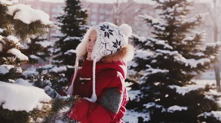 Amazing close-up shot of cute Caucasian little girl in winter clothes having fun beating snow from pine tree slow motion Stock Footage