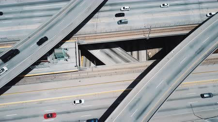 změť : Drone flying above amazing multiple level structure of Judge Pregerson highway road junction with bridges and flyovers.