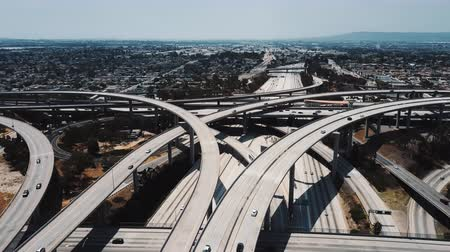 Amazing aerial panning shot of famous Judge Pregerson highway road junction with multiple complex flyovers and bridges. Stock Footage