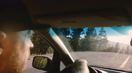 runaway : Beautiful close-up shot of bearded man driving a car along forest road in Yosemite, focus on side mirror slow motion.